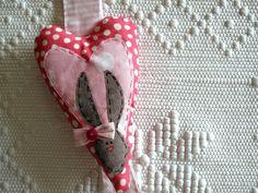 Birth announcement baby girl, hospital door hangers. Fiocco Nascita. Heart and rabbit.