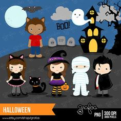HALLOWEEN clipart set : 21 Graphics & 1 Background    •PNG with Transparent Background Images are high quality 300 DPI ::::::::INSTANT DOWNLOAD::::::::