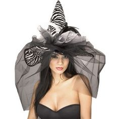 This zebra witch hat with it's veil would look great with a fancy witch Halloween costume