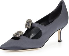 Manolo Blahnik Sirius Cutout Crystal-Buckle Satin Pump, Gray