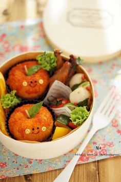Apple Shaped Riceball Cutlet Bento Lunch|弁当