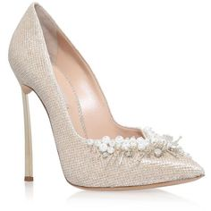 Casadei Embellished Blade Court Shoes ($1,010) ❤ liked on Polyvore featuring shoes, pumps, casadei shoes, stiletto heel pumps, pointy toe pumps, metallic pointed toe pumps and stiletto pumps