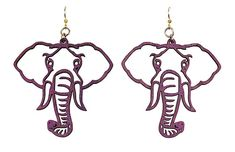 Wood Purple Elephant Earrings from The Purple Store! Elephant Room, Elephant Blanket, Purple Elephant, Elephant Stuff, Elephant Jewelry, Elephant Earrings, African Theme, Kitchenaid Stand Mixer, Girly Things