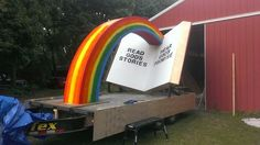 Float I designed and painted for my family's church. Hummed the Reading Rainbow theme the whole time we were building it. Still a few things to finish up, but it'll do.