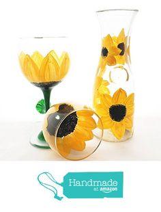 Hand Painted Sunflowers Carafe and Wine Glass Set from My Retirement https://www.amazon.com/dp/B01GM4HEL0/ref=hnd_sw_r_pi_dp_6vaFybV8X3WZC #handmadeatamazon