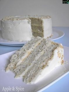Lemon Poppy Seed Cake with Almond Frosting. Lemon poppy seed muffins are my favorite kind of muffin, and in cake form I expect it must taste even better! Cupcakes, Cupcake Cakes, Almond Frosting, Blueberry Frosting, Icing, Cake Recipes, Dessert Recipes, Recipes Dinner, Poppy Seed Cake