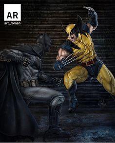 Batman vs Wolverine  @art_roman   Download at nomoremutants-com.tumblr.com