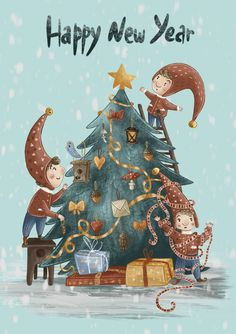 New Year Illustration, Winter Illustration, Illustration Art Drawing, Christmas Illustration, Christmas Clipart, Christmas Images, Christmas Art, Winter Christmas, Xmas