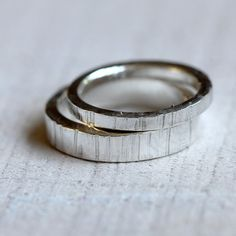Sterling Silver tree bark wedding ring set from Praxis Jewelry