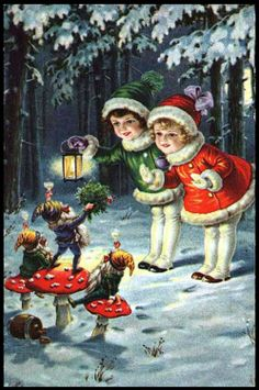 Lovely old christmas postcard! Vintage Christmas Images, Old Christmas, Christmas Scenes, Christmas Gnome, Victorian Christmas, Vintage Holiday, Christmas Pictures, Christmas Greetings, Christmas Crafts