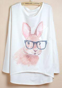 White Batwing Sleeve Glasses Rabbit Print Dipped Hem T-Shirt US$17.21