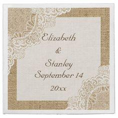 White lace on burlap rustic wedding disposable napkin