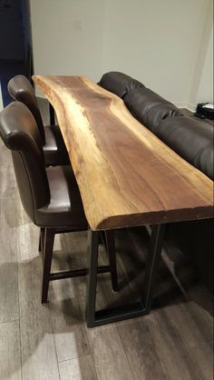 Black Walnut Live Edge Bar Table This height or taller? Live Edge Bar, Live Edge Table, Live Edge Furniture, Outside Furniture, Patio Bar Set, Pub Table Sets, Sofa Tables, Bar Tables, Bar Table Behind Couch