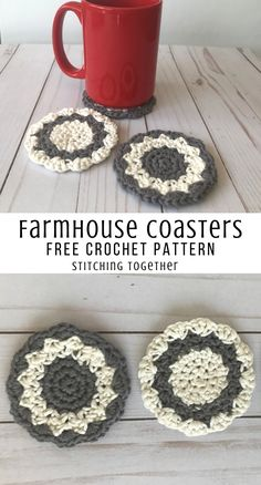 Farmhouse crochet coaster that work up quickly and make lovely housewarming gifts. Make a stack for Crochet Kitchen, Crochet Home, Crochet Gifts, Free Crochet, Knit Crochet, Doilies Crochet, Crochet Mandala, Crochet Afghans, Thread Crochet