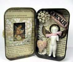 """Altered Altoid Tin Assemblage Collage """"Amour"""" with Antique Frozen Charlotte"""