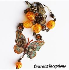 Steampunk Butterfly Necklace ~ Rust, Amber Turquoise Wing