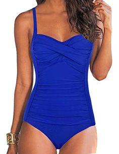 15952e6d5ab62 Hilor Women's One Piece Swimsuits Front Twist Bathing Suits Tummy Control Swimwear  Retro Inspired Monokini Royal