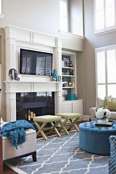 How to turn our dining room into a living room - redo fireplace and put tv above mantle with same couch configuration