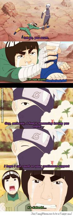 Kakashi, Guy, Rock Lee, funny, flowers, rivals, race, text, quote, comic, young, childhood, different ages, time lapse, crying; Naruto