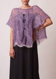 Cable knit sexy mohair sweater loose tunic purple pink by beWoolen