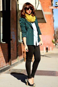 Zara blazer, American Apparel denim shirt, Ecote scarf, Topshop jeans, Karen walker Sunglasses, Miu Miu pumps, Vanessa Mooney ring.