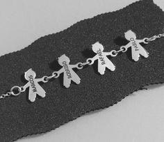 FAMILY KIDS SILVER, pulsera en plata de ley con niños grabados personalizados con  los nombres. #joyasquehablandeti #miplatafina