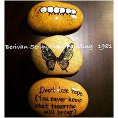 Don't lose hope (you never know what tomorrow will bring) #tasboyama #tasboyamasanati #stonepainting #paintedrock #paintedstones #paperweight #paintedstone #loveyourself #love #art #artwork #artandcraft #artoftheday #decoration #christmasspirit #artist #instagood #instagram #instacollage #inspiration #diy #handmade #craftideas #butterfly  #butterflyeffect #hope #caterpillar