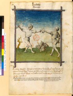 Tacuinum Sanitias 15C, Bibliothèque nationale de France, Latin 9333, fol.93v, Combat