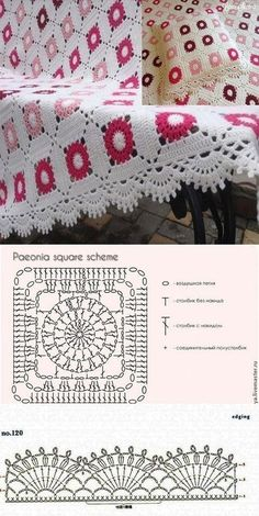 Blanket and mold cushion cover with molds - Moldes de crochet - Motifs Granny Square, Crochet Blocks, Granny Square Crochet Pattern, Crochet Diagram, Crochet Chart, Crochet Squares, Crochet Motif, Crochet Doilies, Crochet Stitches