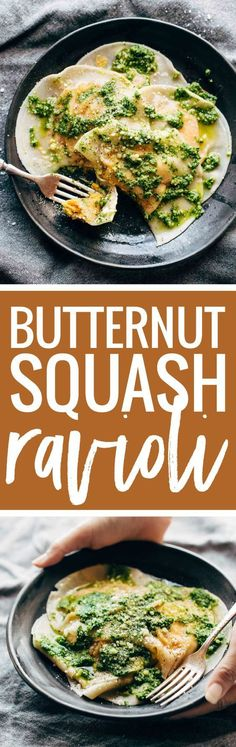 Butternut Squash Ravioli made with WONTON WRAPPERS! Seriously that easy and so, so good. Awesome meatless dinner idea!   http://pinchofyum.com