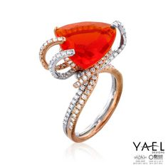 """Love sought is good, but giv'n unsought is better.""  ― William Shakespeare, Twelfth Night #fireopal #rosegold #finering #whitegold #YaelDesigns"