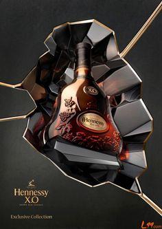 "Creative Package & Advertising Design Hennessy X.O drink bottle www.LiquorList.com ""The Marketplace for Adults with Taste!"" @LiquorListcom #liquorlist"