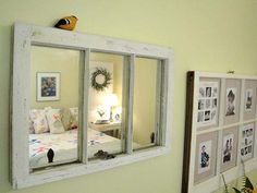 Craft Ideas With Old Windows | Old windows used as a mirror and picture frames