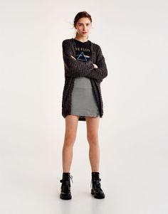 Pull&Bear - woman - clothing - knit - full sleeve knit cardigan - anthracite grey - 09583311-I2017