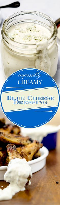 This Homemade | Blue Cheese  Dressing pairs perfectly with crispy baked chicken wings, an iceberg wedge salad or as a dipping sauce for vegetables! | I'd Rather Be A Chef.com