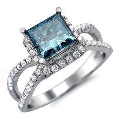 Blue Princess Cut Diamond Engagement Ring 18k White Gold
