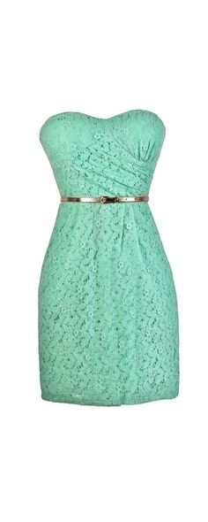 Mint To Be Belted Lace Dress  www.lilyboutique.com