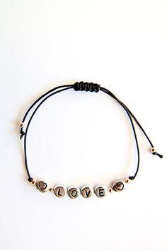 Personalized Handmade Bracelet - Black satin cord + Sterling Silver alphabet + 02 heart beads + Rose gold beads - Loving Memento