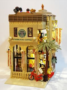 "LEGO Starbucks Mediterranean Cafe (16x16) ""The beauty of the Mediterranean style, from coast to a cup of coffee"""