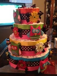 whoo loves you baby shower supplies   Owl Diaper Cake for Baby Shower! Whoo Loves You Baby?