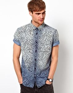 River Island Short Sleeve Shirt in Leopard Print