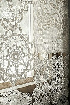 i want to make a curtain similar to these by using my grandmas old table covers. #cheap #unique #close2myheart