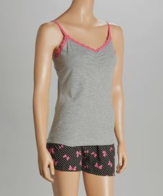 Look what I found on #zulily! René Rofé Gray & Pink Bow Trimmed With Love Pajama Shorts Set - Women by René Rofé #zulilyfinds