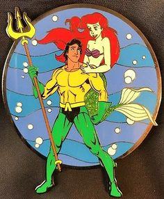Disney Pin Ariel And Eric Aquaman Marvel Fantasy Jumbo Le 100 Triton Mermaid Aquaman Marvel, Disney Pins, Ariel, Fairy Tales, Mermaid, Wallpapers, Fantasy, Fairytale, Wall Papers