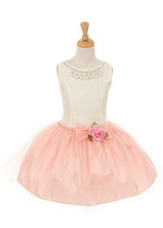 Lovely Lace Bodice with Peach Tulle Girl Dress