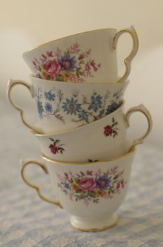 pretty teacups that make me think of my friend Alexis and her tea