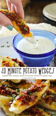 20 Minute Potato Wedges are loaded with cheese, bacon & chives. These are the perfect game day snack. It's an easy potato skins recipe you'll love!!