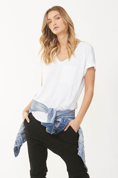 With a balanced range of tran-seasonal wardrobe essentials, shop our must-have bengaline pants, skinny jeans, off the shoulder tops, denim jackets and dresses. Drop Crotch Jeans, Denim Jacket With Dress, Cut Tees, Boyfriend Tee, Cuff Sleeves, Skinny Jeans, V Neck, Clothes For Women, September