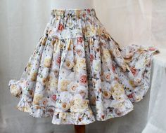 Gorgeous White Rose Ruffled Girls Twirl Skirt by BerryPatchUSA #handmade #cotton #boutique #girl #clothes #spring #easter