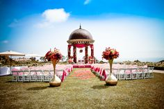 Outdoor mandap, with covering.